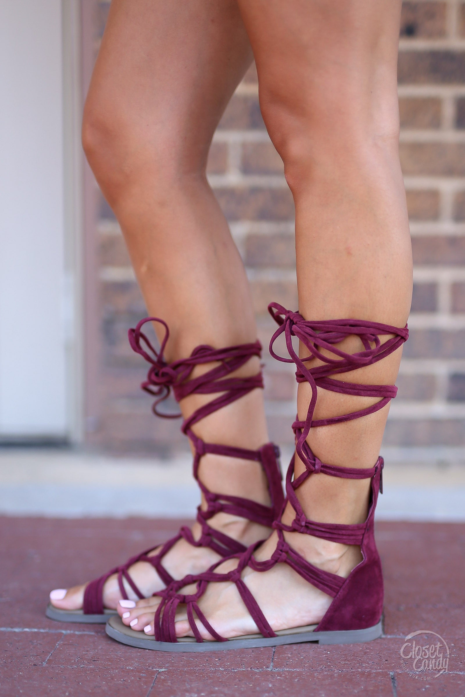 31172f566e68 Indian Summer Lace-Up Sandals - Wine - Closet Candy Boutique