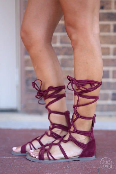 Closet Candy Boutique - cute trendy suede gladiator sandals, wine sandals, lace-up shoes