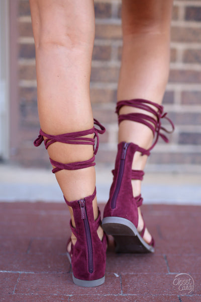 Closet Candy Boutique - cute trendy suede gladiator sandals, wine sandals, lace-up shoes, back