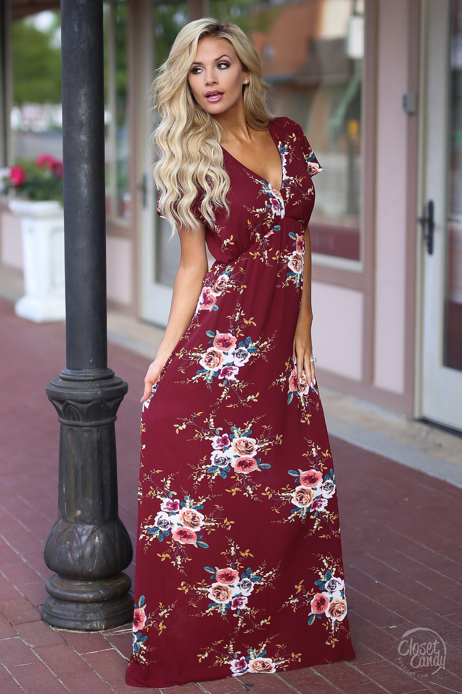 Closet Candy Boutique - wine floral maxi dress, long floral dress, spring and summer style