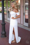 Closet Candy Boutique - trendy off the shoulder maxi dress, spring and summer style, side slit
