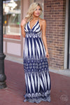 One & Only Maxi Dress - navy and white tribal print maxi dress, front view, Closet Candy Boutique