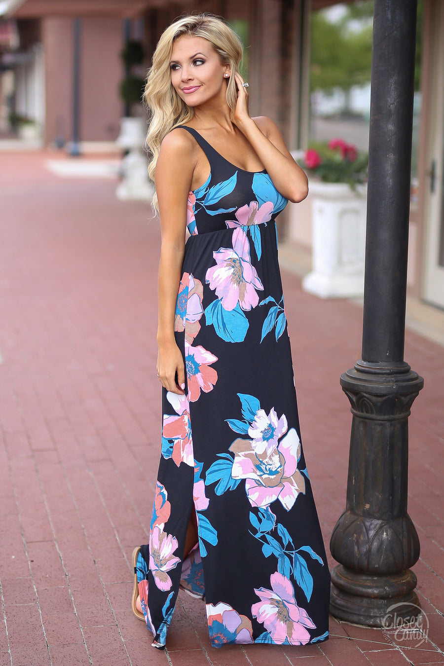 Closet Candy Boutique - trendy floral maxi dress, black dress, long dresses