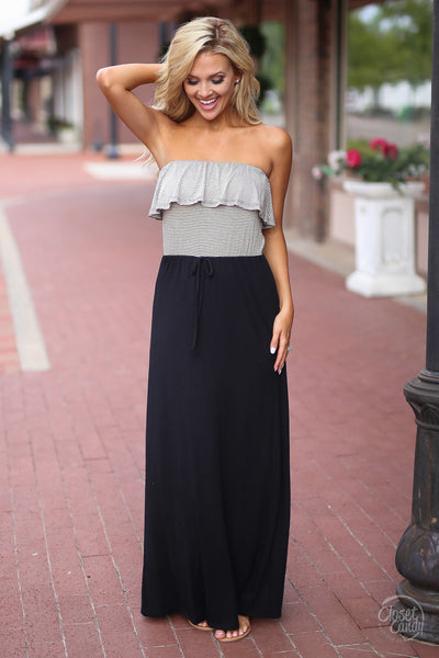 Closet Candy Boutique - cute and trendy strapless maxi dress with ruffles, black maxi dress, front