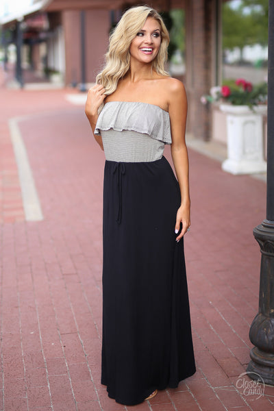 Closet Candy Boutique - cute and trendy strapless maxi dress with ruffles, black maxi dress