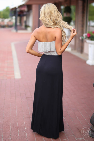 Closet Candy Boutique - cute and trendy strapless maxi dress with ruffles, black maxi dress, back