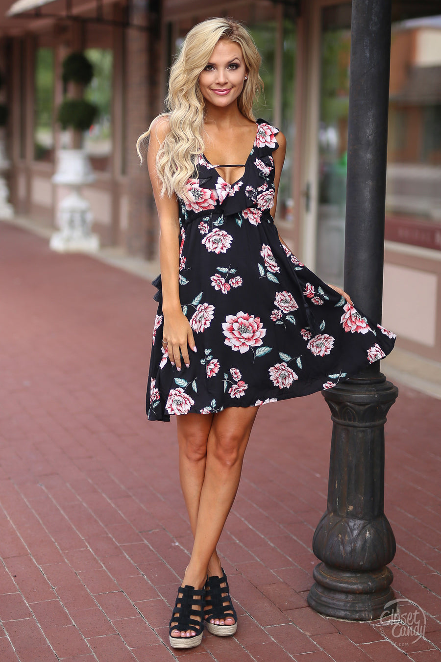 Summer Bucket List Dress - black floral short dress for spring and summer, Closet Candy Boutique