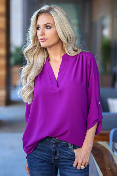 Desk To Dawn Top - Magenta womens work blouse closet candy boutique