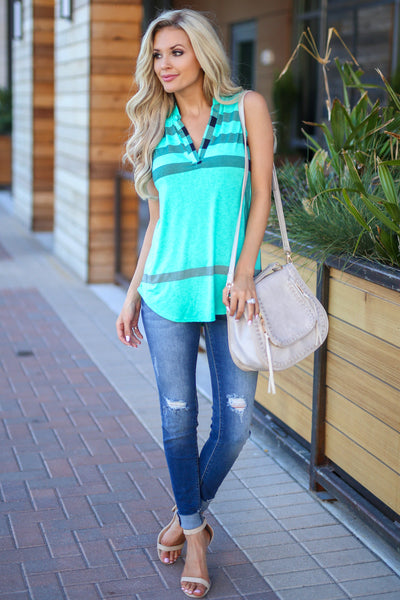 Office Hours Sleeveless Top - Mint womens plaid shirt closet candy boutique