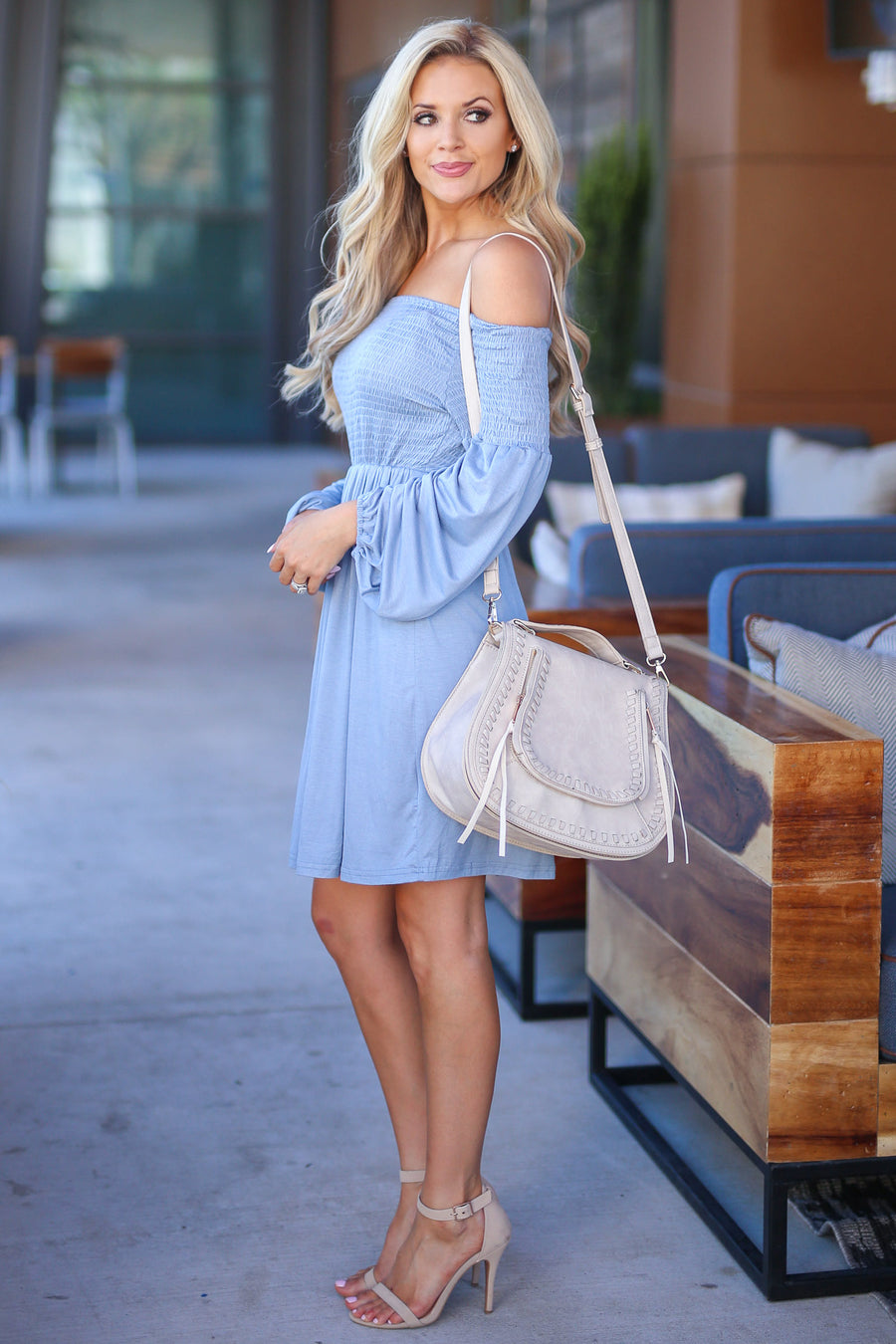 Show Them Those Baby Blues Dress womens off the shoulder dress closet candy boutique