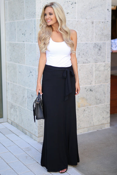 Just The Facts Maxi Skirt - Black womens long skirt with tie closet candy boutique