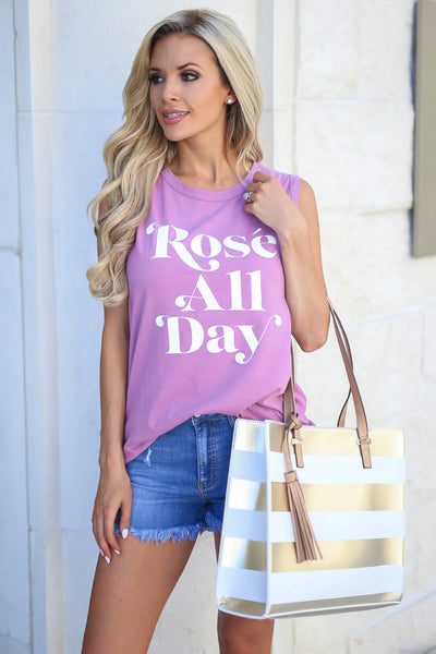 Rosé All Day Graphic Tank - Rose womens graphic top closet candy