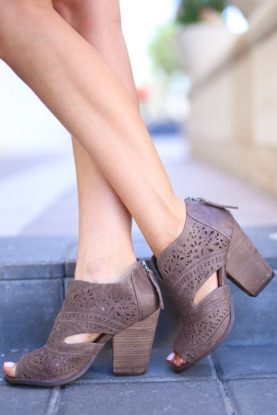 On the Move Booties - Light Taupe womens heeled open toe shoes closet candy boutique