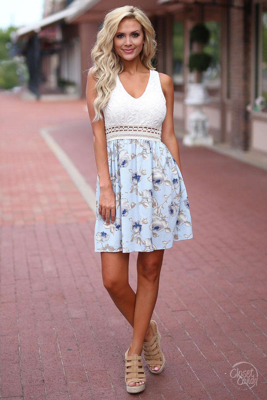 Closet Candy Boutique - cute blue floral sundress with lace, spring and summer outfit