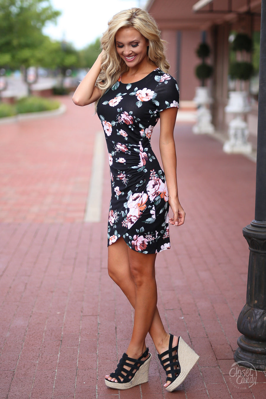Closet Candy Boutique - cute flattering black floral dress for spring and summer, fitted dress