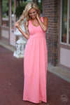Closet Candy Boutique - cute pink maxi dress with trendy criss cross design, front