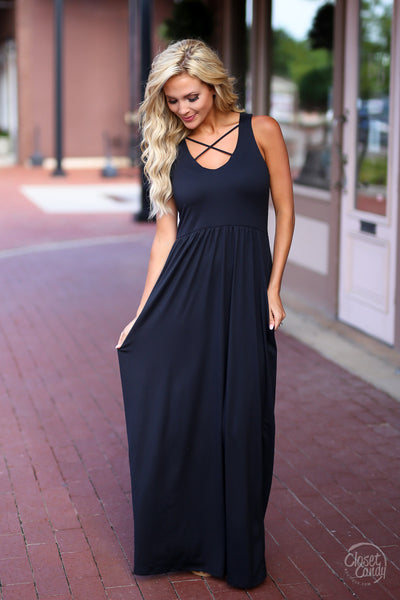 CCB Summer in the City Maxi Dress - cute black maxi dress with trendy criss cross design, front, Closet Candy Boutique