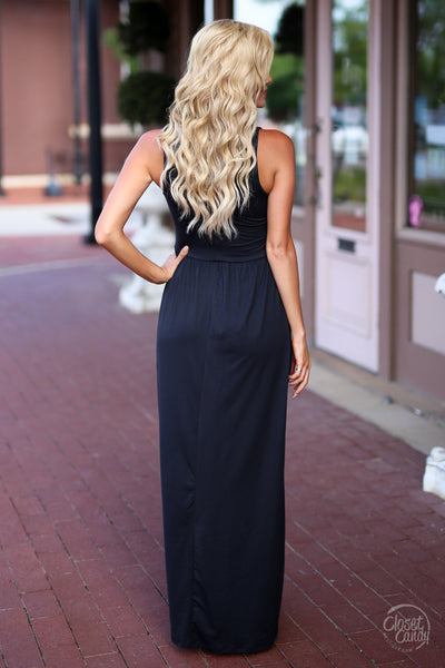CCB Summer in the City Maxi Dress - cute black maxi dress with trendy criss cross design, back, Closet Candy Boutique