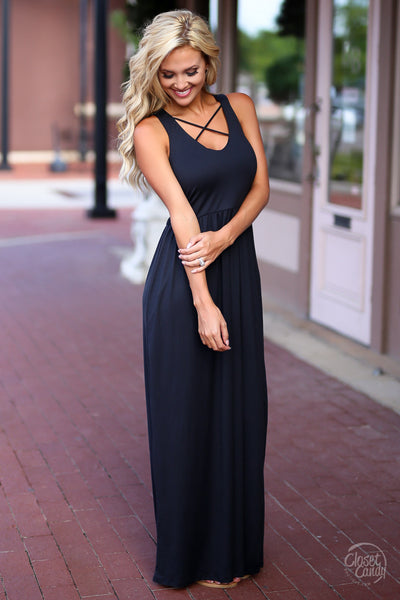 Closet Candy Boutique - cute black maxi dress with trendy criss cross design, side