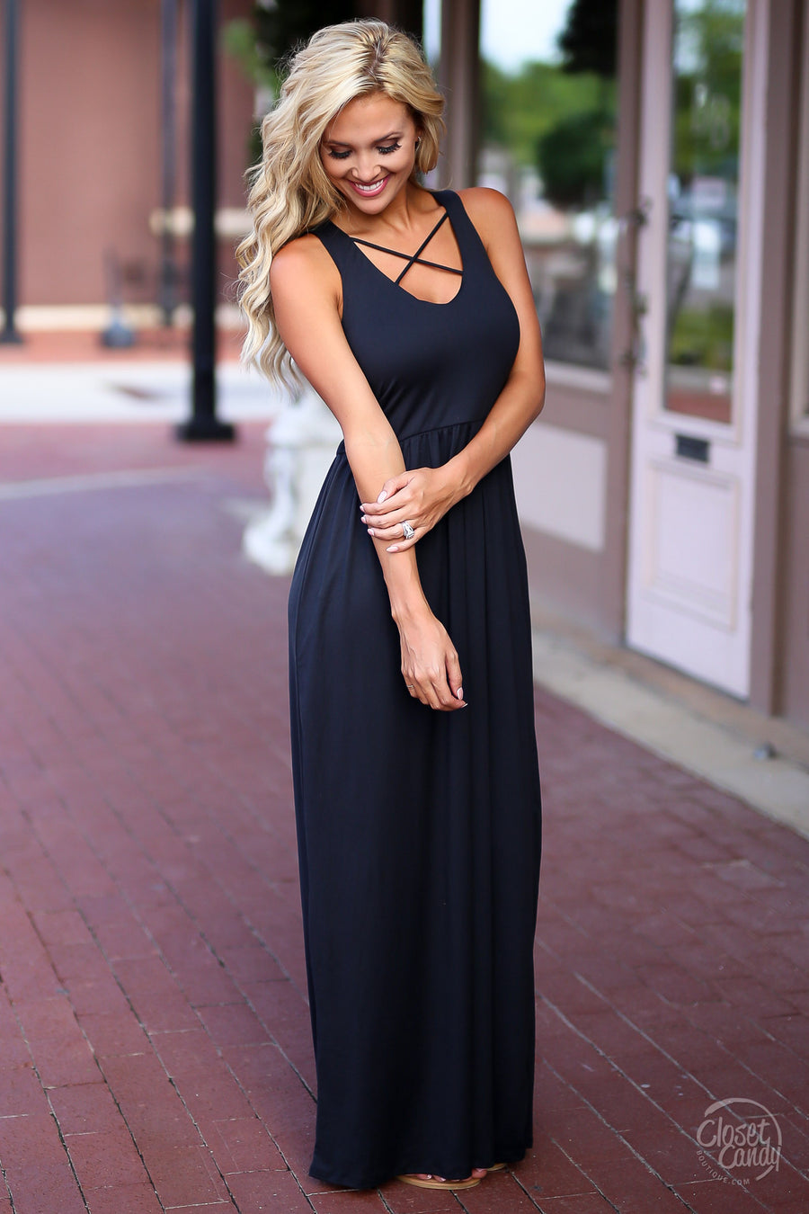 Closet Candy Boutique - cute black maxi dress with trendy criss cross design, front