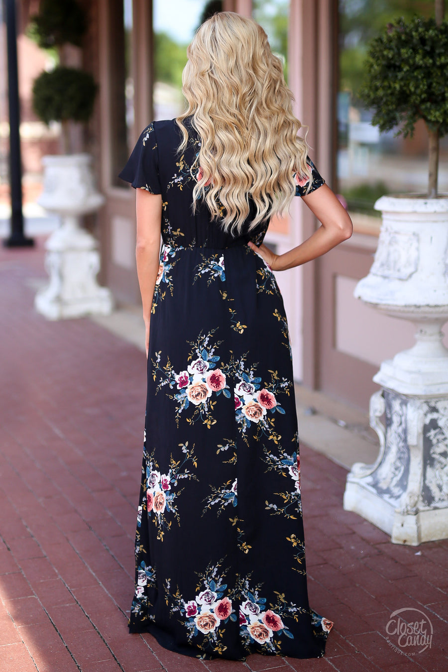 Picking Daisies Maxi Dress - cute black floral maxi dress with short sleeves, side view, Closet Candy Boutique