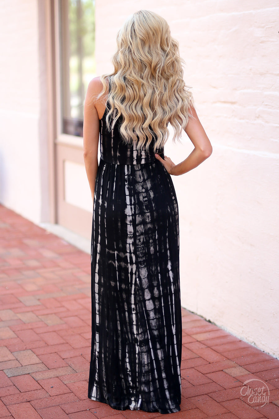 Closet Candy Boutique - cute trendy criss-cross black maxi dress, spring and summer outfit