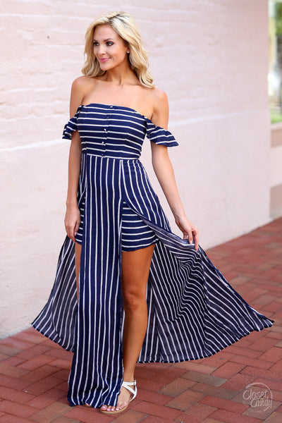 Closet Candy Boutique - cute trendy off the shoulder maxi romper, stripe maxi romper, navy and white stripes