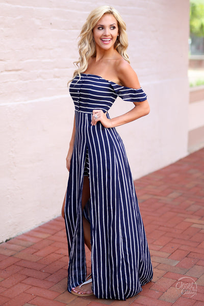 Closet Candy Boutique - cute trendy off the shoulder maxi romper, stripe maxi romper, navy and white stripes, side