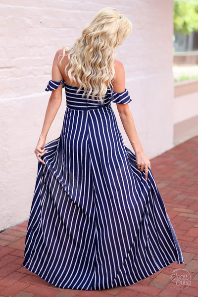 Closet Candy Boutique - cute trendy maxi romper, stripe maxi romper, navy and white stripes, back