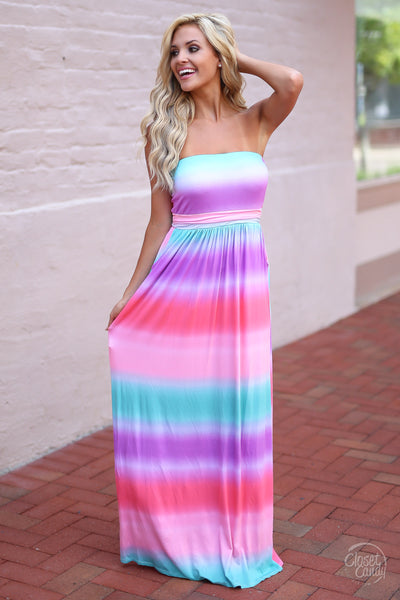 Closet Candy Boutique - cute colorful tie dye maxi dress for spring and summer, front