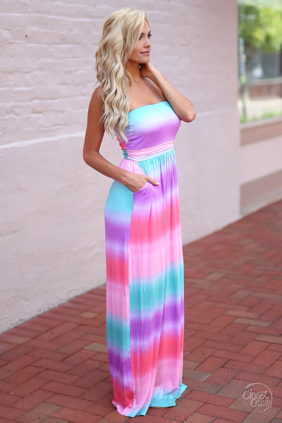 Closet Candy Boutique - cute colorful tie dye maxi dress for spring and summer, side