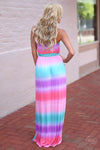 Closet Candy Boutique - cute colorful tie dye maxi dress for spring and summer, back