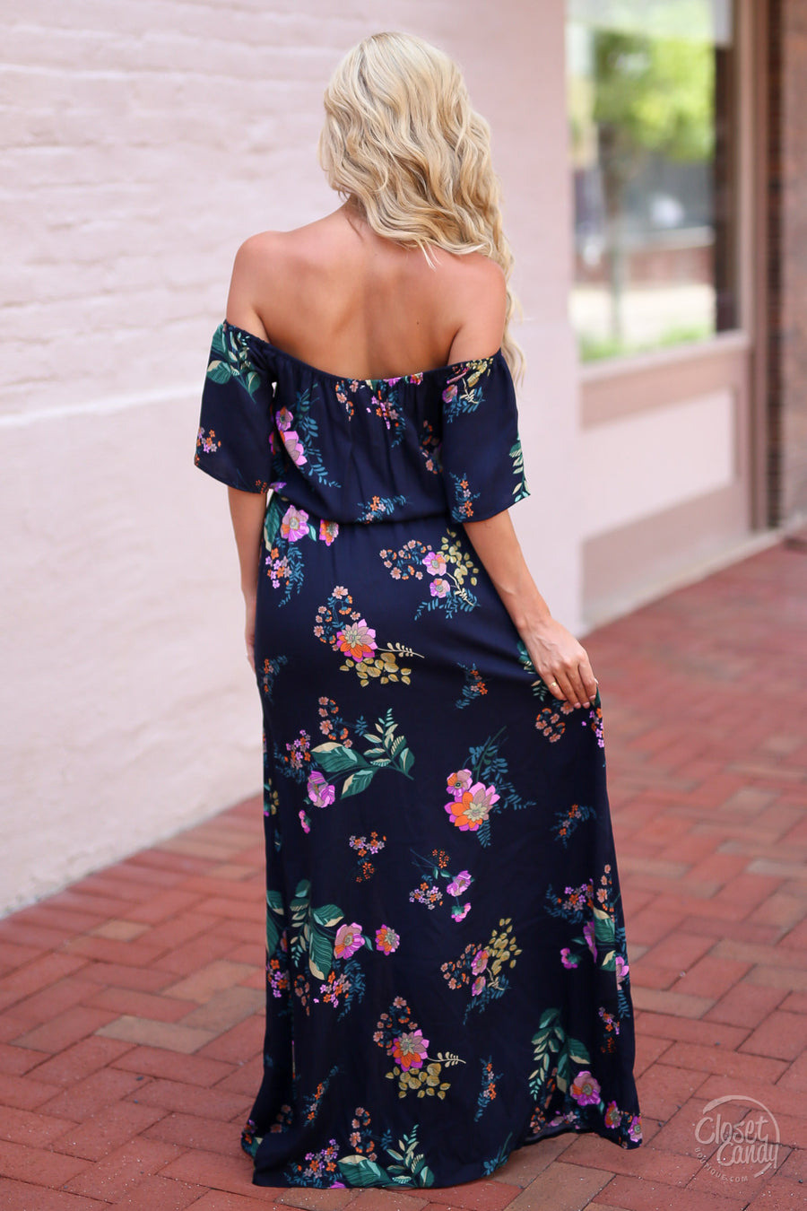 LOVE STITCH Open Water Maxi Dress - Navy