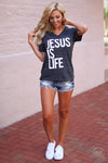 "Jesus Is Life Top - short sleeve ""Jesus Is Life"" graphic tee, outfit, Closet Candy Boutique"