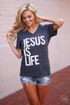 "Jesus Is Life Top - short sleeve ""Jesus Is Life"" graphic tee, front, Closet Candy Boutique"