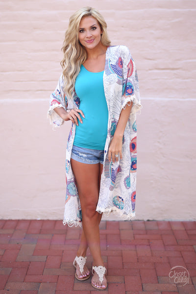 Closet Candy Boutique - floral kimono for spring and summer, swim cover