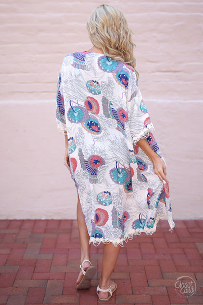 Closet Candy Boutique - floral kimono for spring and summer, swim cover, back