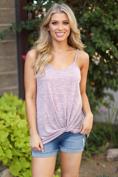 Don't Get It Twisted Tank - Dusty Rose womens spaghetti strap twist tank top closet candy boutique