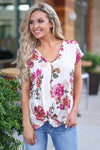 Cloud Nine Top - Cream womens cute trendy floral twist shirt closet candy boutique
