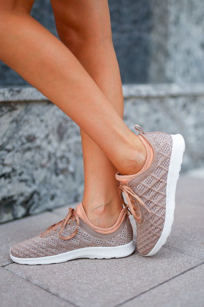 Kick Starter Metallic Sneakers - Rose Gold womens trendy sparkly sneakers closet candy boutique