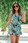 Heart in Hawaii Romper - Mint womens trendy tropical print sleeveless tie romper closet candy front