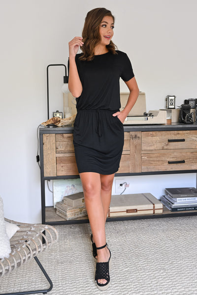 Don't Forget Dress - Black womens casual little black dress with pockets and short sleeves closet candy front 2
