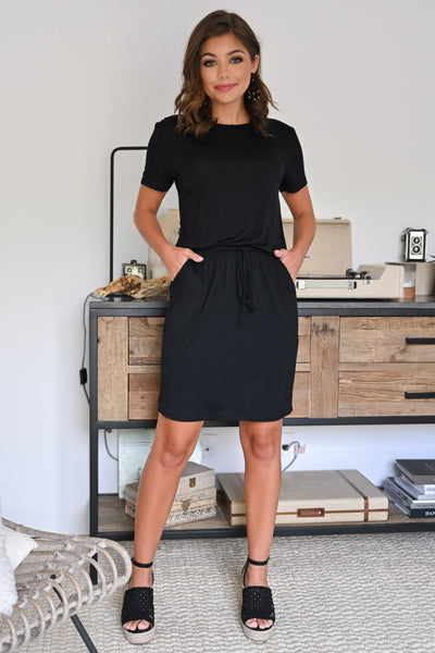 Don't Forget Dress - Black womens casual little black dress with pockets and short sleeves closet candy front 3