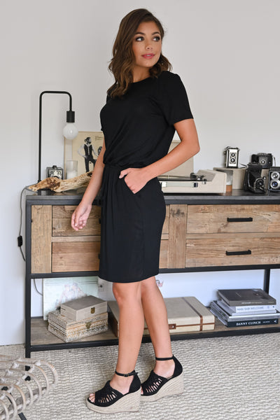 Don't Forget Dress - Black womens casual little black dress with pockets and short sleeves closet candy side