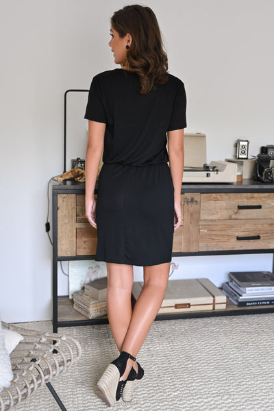 Don't Forget Dress - Black womens casual little black dress with pockets and short sleeves closet candy back