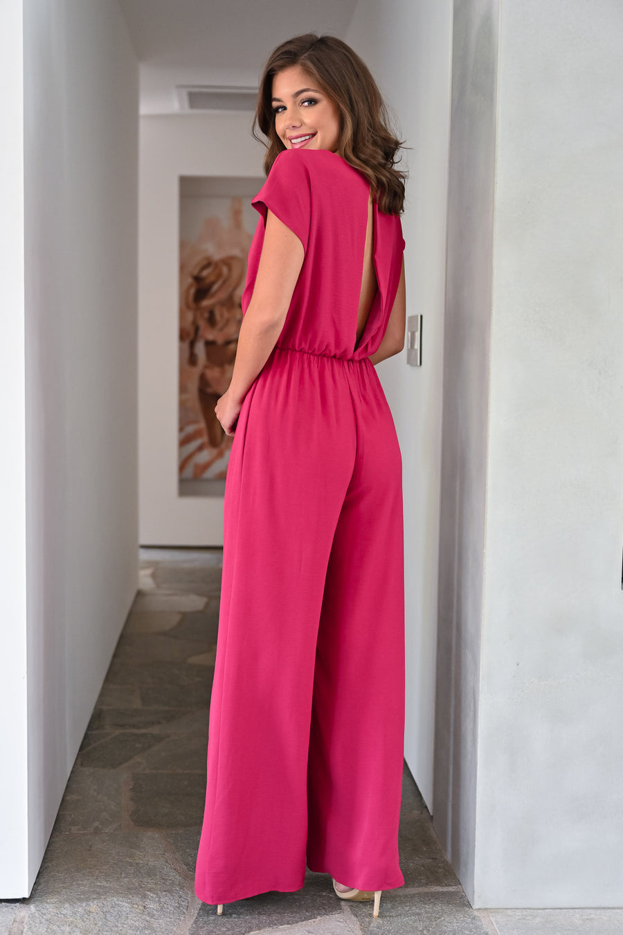 After Sunset Jumpsuit - Berry womens trendy short sleeve tie front long jumper closet candy front; Model: Hannah Sluss