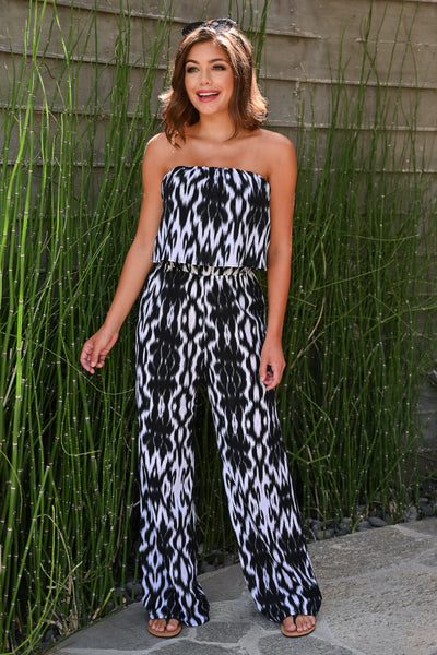 Take The Time Jumpsuit - Black womens trendy strapless abstract print ruffle detail jumpsuit closet candy front; Model: Hannah Sluss