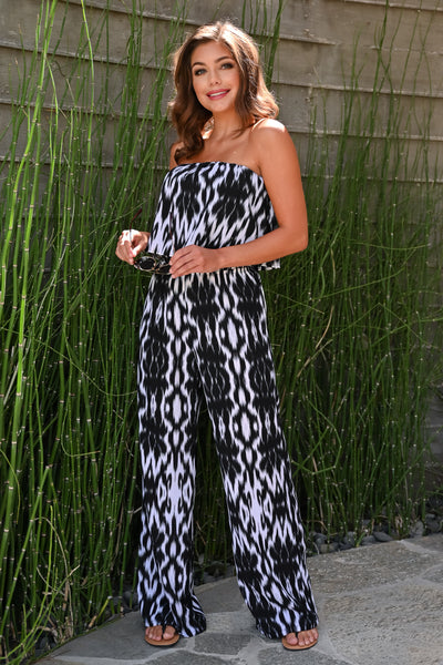 Take The Time Jumpsuit - Black womens trendy strapless abstract print ruffle detail jumpsuit closet candy side; Model: Hannah Sluss