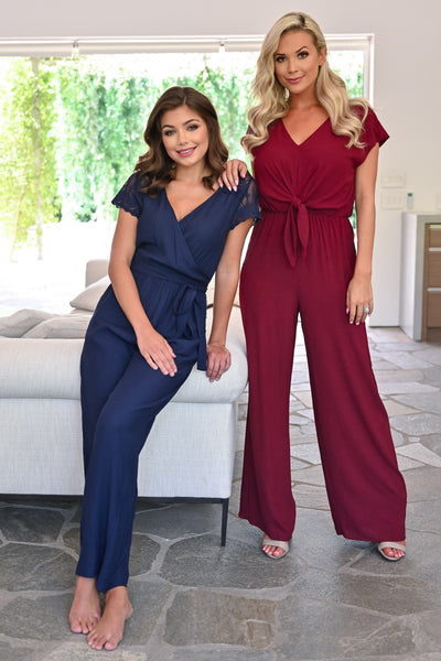 After Sunset Jumpsuit - Wine womens trendy tie front short sleeve long jumper closet candy both