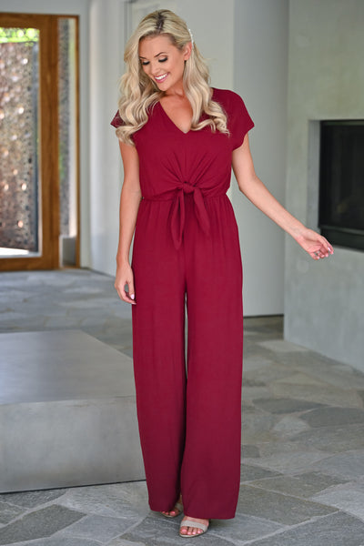 After Sunset Jumpsuit - Wine womens trendy tie front short sleeve long jumper closet candy front
